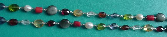 chakra navaratna necklace for crystal healing green background