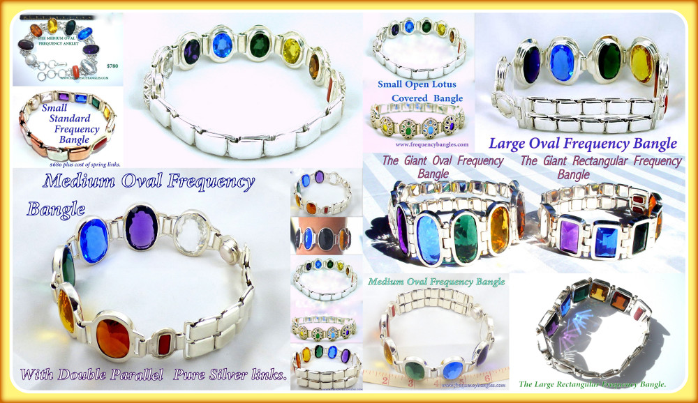 collage of frequency jewelry photos