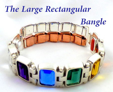 large rectangular frequency bangle which helps to improve karma