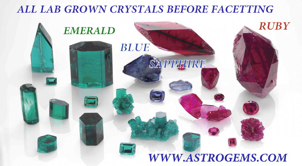 emerald, blue sapphire and ruby laboratory grown crystals before facetting