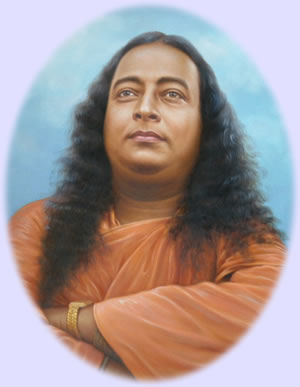 portrait of paramahansa yogananda with arms crossed