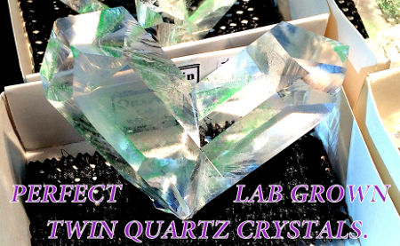 Perfect Laboratory Grown Twin Quartz Crystals